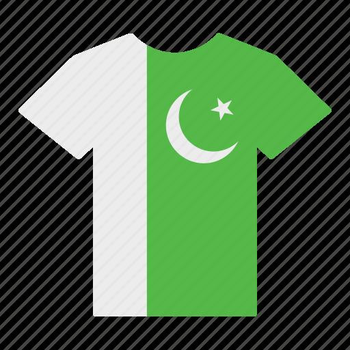 country, flag, jersey, pakistan, pakistani, shirt, t-shirt icon