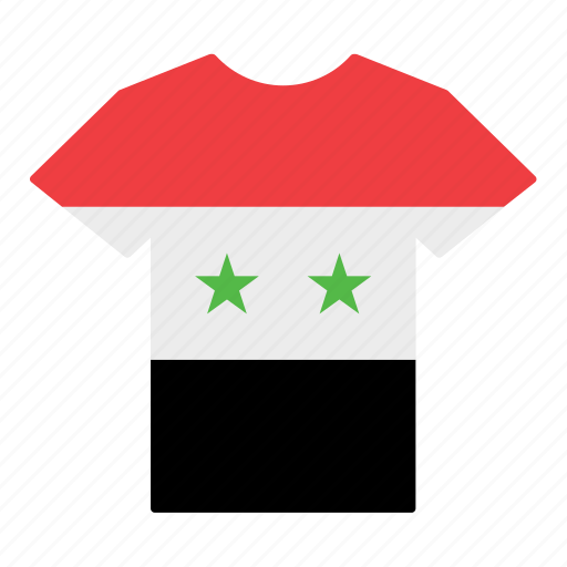 country, flag, jersey, shirt, syria, syrian, t-shirt icon