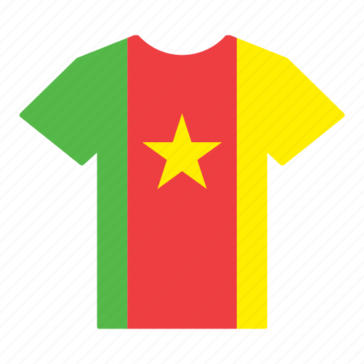 cameroon, cameroonian, country, flag, jersey, shirt, t-shirt icon