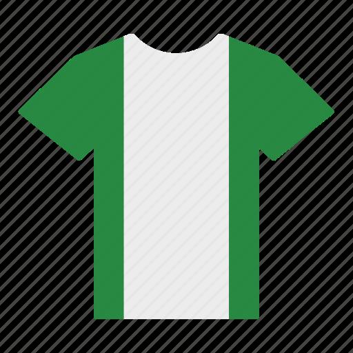 country, flag, jersey, nigeria, nigerian, shirt, t-shirt icon