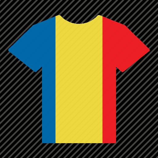 country, flag, jersey, romania, romanian, shirt, t-shirt icon