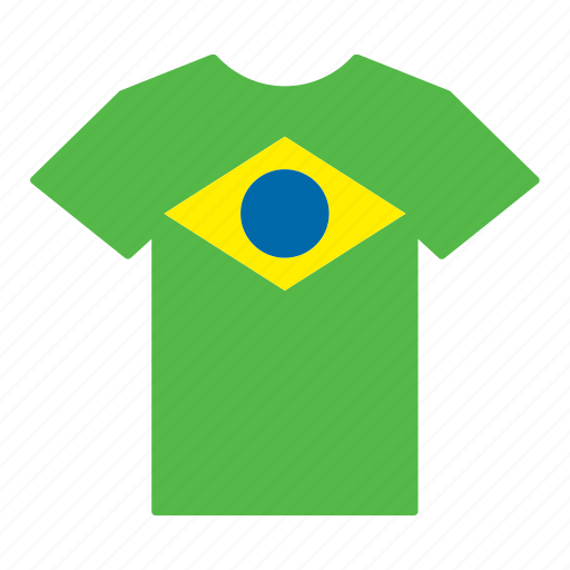 brazil, brazilian, country, flag, jersey, shirt, t-shirt icon