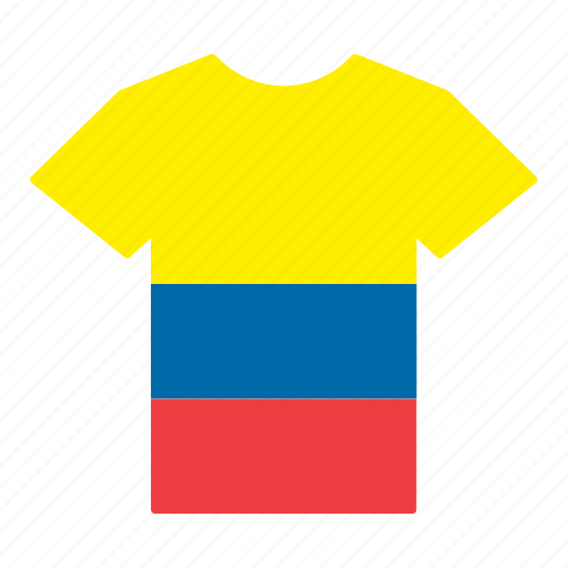 colombia, colombian, country, flag, jersey, shirt, t-shirt icon