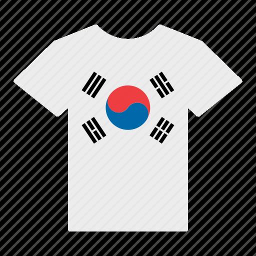 country, flag, jersey, korea, korean, shirt, south icon