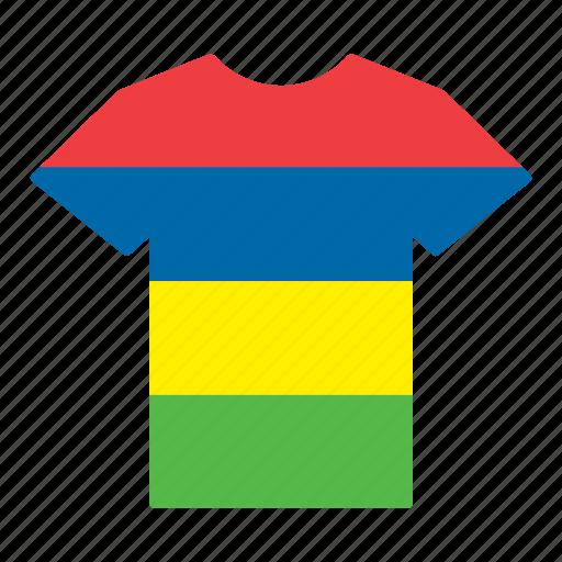 country, flag, jersey, mauritian, mauritius, shirt, t-shirt icon