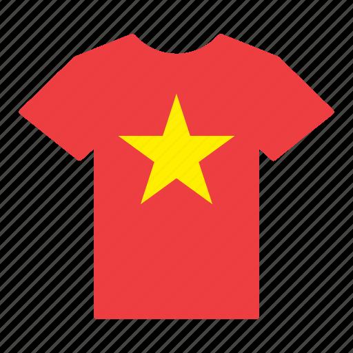 country, flag, jersey, shirt, vietnam, vietnamese icon
