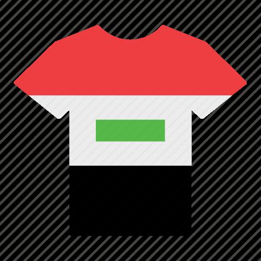 country, flag, iraq, iraqi, jersey, shirt, t-shirt icon
