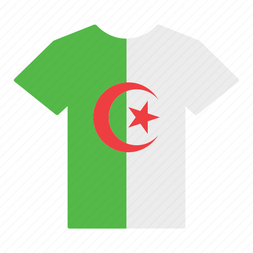 algeria, algerian, country, flag, jersey, shirt, t-shirt icon