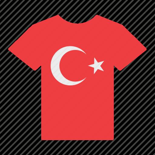 country, flag, jersey, shirt, t-shirt, turkey, turkish icon