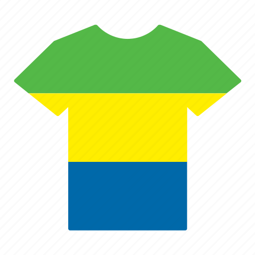 country, flag, gabon, gabonese, jersey, shirt, t-shirt icon