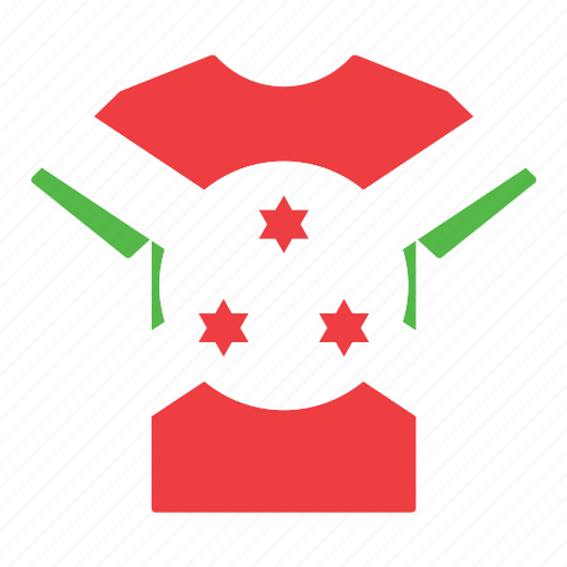 burundi, burundian, country, flag, jersey, shirt, t-shirt icon