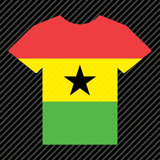country, flag, ghana, ghanaian, jersey, shirt, t-shirt icon