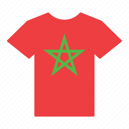 country, flag, jersey, moroccan, morocco, shirt, t-shirt icon