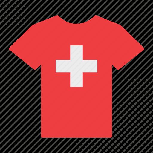 country, flag, jersey, shirt, swiss, switzerland, t-shirt icon