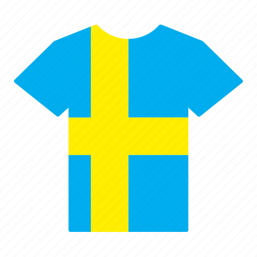 country, flag, jersey, shirt, sweden, swedish, t-shirt icon