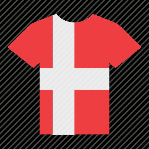 country, danish, denmark, flag, jersey, shirt, t-shirt icon