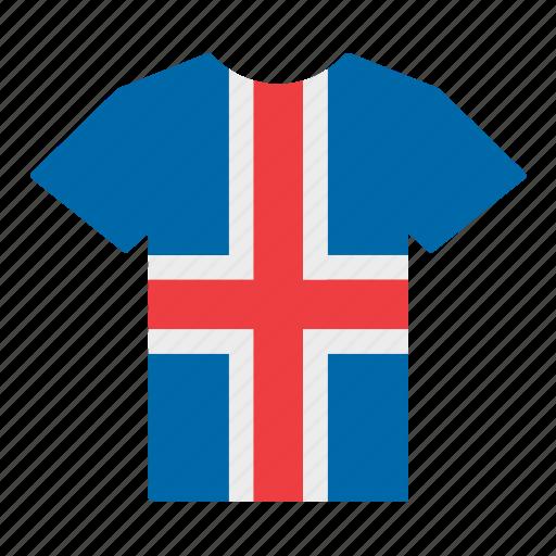 country, flag, iceland, icelander, icelandic, jersey, shirt icon