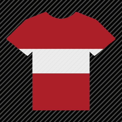 country, flag, jersey, latvia, latvian, shirt, t-shirt icon