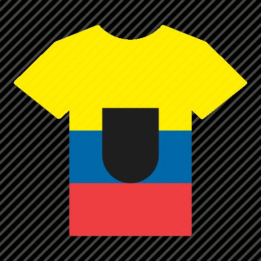 country, ecuador, ecuadorian, flag, jersey, shirt, t-shirt icon