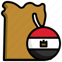 egypt, flag, country, nation, map, location