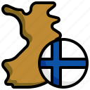finland, flag, map, location, pin