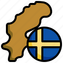 sweden, flag, europe, country, banner, map, location