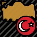 turkey, flag, world, nation, map, location