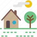 countryside, farmland, home, house, landscape, rural icon