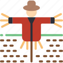 birds, countryside, farmers, field, in, scarecrow icon