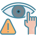 avoid, do not, eye, hand, touch