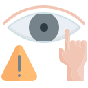 avoid, do not, eye, hand, touch icon