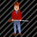 cowboy, man, retro, riffle, star, vintage