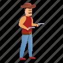cowboy, fashion, mustache, person, retro, vintage, man