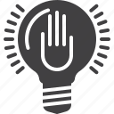 hand, idea, lamp, lightbulb icon