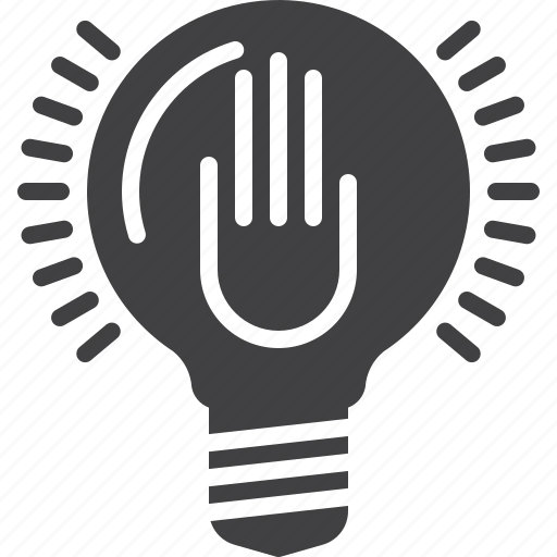 hand, idea, lamp, lightbulb icon