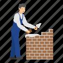 builder, wall, bricks, constructor, worker, cement, occupation