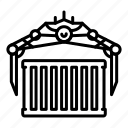 business, car, container, crane, hook, logo, silhouette