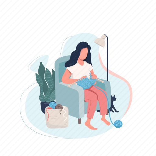 Creative hobby, woman, knitting, needle, craft illustration - Download on Iconfinder