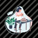 creative hobby, woman, cooking, cake, bake