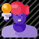 art, bulb, creative, guy, idea, science icon
