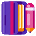 art, book, creative, idea, pencil, science, sketch icon