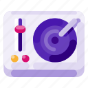 art, creative, digital, music, science, turntable icon