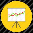 analytics, data analytics, graph, line chart, presentation icon