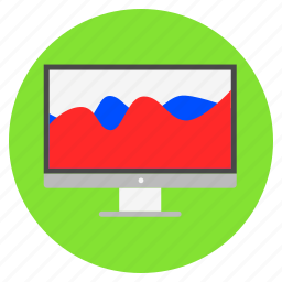 analytical, comparison graph, data analysis, presentation, wave chart icon