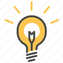 creative, idea, light bulb, think, thinking icon