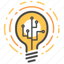 creative, digital, idea, light bulb, think, thinking icon