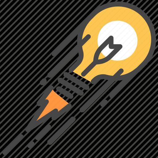 creative, idea, launching, rocket, think icon