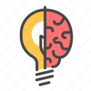 brain, concept, creative, idea, light bulb, think, thinking icon