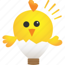animal, baby, bulb, chicken, creative, idea, light icon