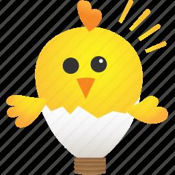 animal, baby, bulb, chicken, creative, idea, light icon